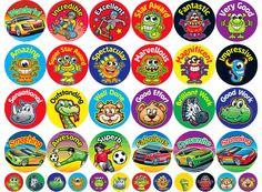 Bright & Colourful Reward stickers to praise and reward hard-working children.      Size: 36mm - 480 stickers     Size: 15mm - 240 stickers     36 mixed designs     720 stickers per pack     Ref: RA30  Price     £19.95 FREE UK DELIVERY     (£16.63 ex VAT)