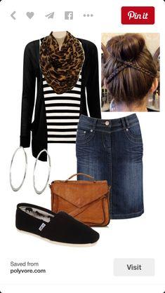 Denim skirt, Leopard scarf