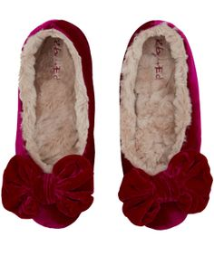 Luxury slippers are made from a silk-blend velvet and lined with crushed faux fur. < this is more like it, Liberty Parisienne Chic, Pyjamas, Pjs, Ballerina Slippers, Fuzzy Slippers, Gifts For Mum, Pink Velvet, Sock Shoes, Loungewear