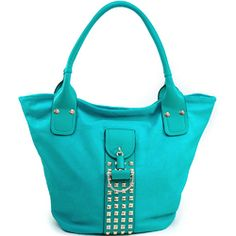 Women's Fashion Tote w/ Rounded Pyramid Studs & Tassel Accent - Turquoise Color: Turquoise Studded Bag, Turquoise Color, Fashion Handbags, Tassel, Studs, Women's Fashion, Tote Bag, Fashion Women