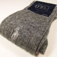 Polo Ralph Lauren Cashmere Ribbed Socks w/Pony Embroidery CHARCOAL GRAY O/S NWT #PoloRalphLauren #Dress
