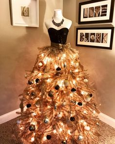 Christmas Dress Tree. Black and Gold. Mannequin Tree. Mannequin Christmas Tree, Dress Form Christmas Tree, Live Christmas Trees, Holiday Tree, Xmas Tree, Christmas Tree Decorations, Christmas Time, Christmas Sweaters, Elegant Christmas