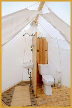 Glamping Bathrooms & Amenities - Tents - Ideas of Tents - Glamping Bathroom Amenities Design Ideas Breathe Bell Tents Australia Inspo Bathroom design ideas canvas fabric porcelain sinks