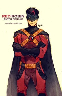 """naasad: """" mabychan: """" Outfit remake for all the Robins :D - Dick Grayson (Nightwing) - Jason Todd (Red Hood) -Tim Drake (Red Robin) - Damian Wayne (Robin) """" Guys! Nightwing, Batgirl, Tim Drake Red Robin, Robin Dc, Batman E Superman, Batman Robin, Batman Arkham, Batman Art, Comic Book Characters"""