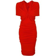 LANVIN Jersey Off Shoulder Fitted Dress (25.303.045 VND) ❤ liked on Polyvore featuring dresses, red, robe, v neck dress, red off the shoulder dress, red v neck dress, off the shoulder dress and red short sleeve dress