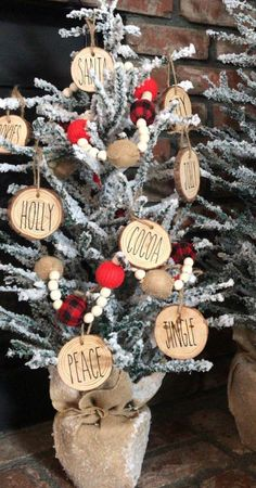 Excited to share this item from my shop: Rae dunn inspired christmas ornaments, gift, wood slice ornaments christmascraftshow Rustic Christmas Ornaments, Farmhouse Christmas Decor, Christmas Balls, Christmas Time, Merry Christmas, Ornaments Ideas, Homemade Ornaments, Christmas Christmas, Making Christmas Ornaments