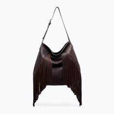 Image 1 of LEATHER BUCKET BAG WITH FRINGES from Zara