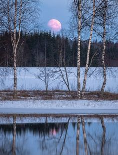 Natural Mirrors, Vive Le Vent, Landscape Photography, Nature Photography, Moon Pictures, Winter Scenery, Snowy Day, Stars At Night, Moon Art