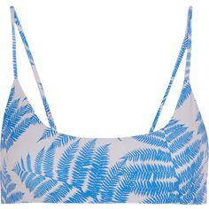 Mikoh Hermosa printed bikini top ($77) ❤ liked on Polyvore featuring swimwear, bikinis, bikini tops, swimsuit, bikini, beach, swim, azure, bikini swimsuit and blue swimsuit