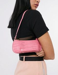 Buy ASOS DESIGN shoulder bag in pink oversized croc at ASOS. With free delivery and return options (Ts&Cs apply), online shopping has never been so easy. Get the latest trends with ASOS now. Asos, Effortlessly Chic Outfits, Bodysuit, Classic Handbags, Bodycon, British Style, Hobo Bag, Casual, Totes