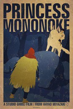 Posters for Hayao Miyazaki's animated movies. Princess Mononoke. Du beau film d'animation. Son dernier film d'animation sort en salles