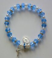 Blue Lourdes Apparition Rosary Bracelet. Rosary Bracelet, Rosary Beads, Beaded Bracelets, Catholic Jewelry, Catholic Medals, Our Lady Of Lourdes, One Decade, Religious Gifts, Miraculous