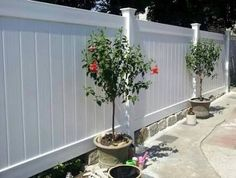 Veranda 6 ft by White Linden Pro Privacy fence 75 each Home Depot Fence Landscaping, Backyard Fences, Garden Fencing, White Vinyl Fence, White Fence, Privacy Fence Panels, Concrete Bricks, Green Fence, Fence Art