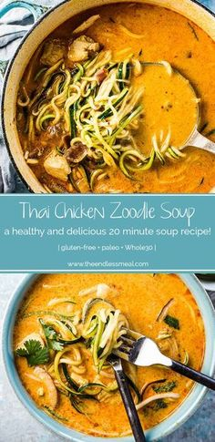 Thai Chicken Zoodle Soup Thai Curry Chicken Zoodle Bowls are crazy flavorful and loaded with good for you ingredients like coconut milk, chicken, and lots of zucchini. This simple recipe can be whipped up in 20 minutes for a quick and easy weeknight meal. Paleo Soup, Paleo Diet, Paleo Recipes, Asian Recipes, Cooking Recipes, Zoodle Recipes, Paleo Meals, Gluten Free Zucchini Recipes, Whole 30 Recipes