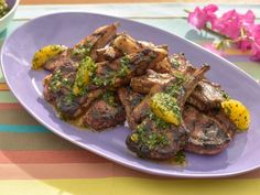 """Get Sunny's Grilled Lamb Chops with a """"No Cook"""" Orange Chutney Recipe from Food Network"""