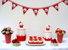 Hello Kitty buffet table by neviepiecakes, via Flickr