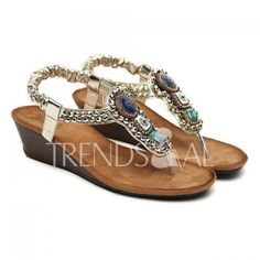 Wholesale Bohemia Beaded and Flip-Flop Design Women's Wedge Sandals Only $11.03 Drop Shipping | TrendsGal.com