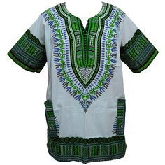 African Dashiki T-Shirt / Top White / Green (DAS-10)