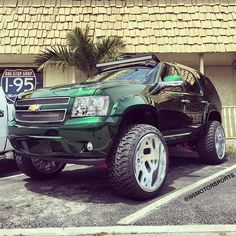 Just finished up this Kandy Green Tahoe on with a lift Kenworth Trucks, 4x4 Trucks, Lifted Trucks, Chevy Trucks, Custom Jeep, Custom Trucks, Custom Cars, Lifted Tahoe, Chevy Avalanche
