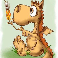 I usually am not drawn to the cartoon like dragons, but this little guys is just… Dragon 2, Baby Dragon, Cartoon Kunst, Cartoon Art, Fantasy Creatures, Mythical Creatures, Fire Drawing, Cartoon Dragon, Cool Dragons
