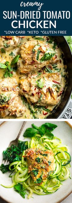 Creamy Sun-Dried Tomato Chicken with Spinach and Basil is full of flavor and perfect for busy weeknights. Best of all, this simple recipe cooks up in one pan in just 30 minutes with a delicious creamy low carb & keto friendly sauce. Freezer-friendly & great for meal prep Sunday for work or school lunches. #lowcarb #keto #chicken #dinner #sundriedtomato #creamsauce #chickendinner #onepanmeal #30minutedinner