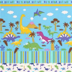 blue dinosaur dino Kokka Canvas fabric