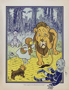 William Wallace Denslow, (1856–1915), Dorothy meets the Cowardly Lion, from the first edition of The Wonderful Wizard of Oz.