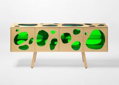 The Campana Brothers created 'Aquário' for Campana Brothers. It is a sideboard made of ash wood and green glass doors. Art Furniture, Painted Furniture, Modern Furniture, Furniture Design, Glass Furniture, Patricia Urquiola, Buffet Teck, Deco Buffet, Ikea