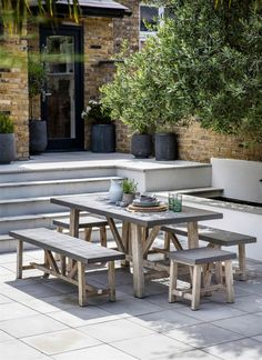 Attractive The Smaller Chilson Table And Bench Set Is Crafted In Cement Fibre With  Acacia Wood Legs, Perfect For Indoor Or Outdoor Use