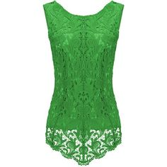 65114e63bc4de1 Womens Fashion Lace Crewneck Sleeveless Blouse Green ( 14) ❤ liked on  Polyvore featuring tops