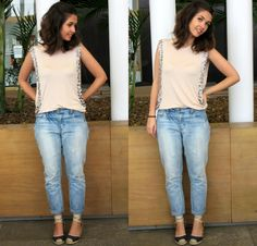 Look do dia com calça jeans boyfriend clara, espadrille e regata bordada. - OOTD light boyfriend denim, espadrille and embroidered tank top.  #blogdemoda #lookdodia #ootd #estilo