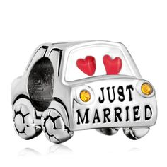 Charms Beads - just married pink hearts love yellow crystal wedding car fit all brands silver plated beads charms bracelets Image. #love #beads #Valentine'sDay