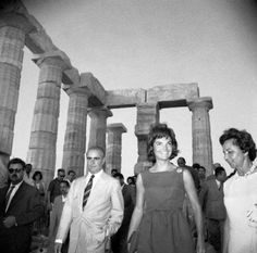 June 1961 Jaqueline Kennedy (later Onassis) and Constantine Karamanlis at the Temple of Posseidon in Sounion.