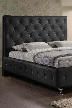 Stella Crystal Tufted Modern Bed with Upholstered Headboard - Black