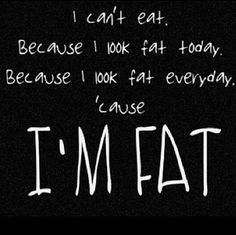 I Can't Eat. Because I Look Fat Today. Because I Look Fat Everyday. 'Cause I'm Fat. My Life. ~H