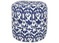Sapphire & White Ikat Pouf