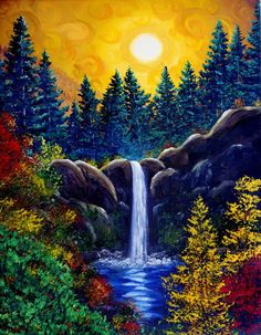 BEAUTIFUL ABSTRACT WATERFALL CANVAS PICTURE #53 STUNNING LANDSCAPE NATURE CANVAS