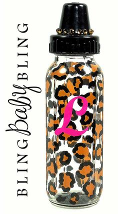 The Jungle Baby line would not be complete without a blinged out leopard bottle! Exquisitely accented with Smoky and Light Topaz bling, specially designed for the wild child.