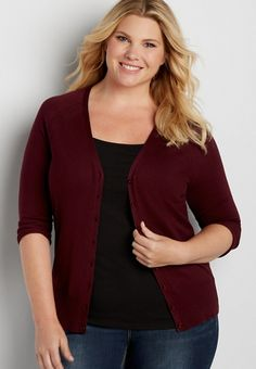 the classic plus size cardi with v-neckline | maurices