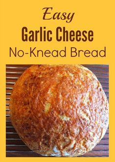 Easy Garlic Cheese No-Knead Bread - With only 5 ingredients this recipe makes a delicious loaf with very little work. via Easy Garlic Cheese No-Knead Bread - With only 5 ingredients this recipe makes a delicious loaf with very little work. Artisan Bread Recipes, Dutch Oven Recipes, Easy Bread Recipes, Cooking Recipes, Cheese Recipes, Garlic Recipes, Vegetarian Cooking, Muffin Recipes, Quick Recipes