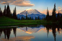 Sunset at Tipsoo Lake in Mount Rainier National park Landscape Photography, Art Photography, Landscape Photos, Rainier National Park, Best Location, Nature Scenes, Mount Rainier, Serenity, Pond