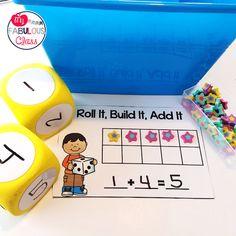 Kindergarten Morning Work Buckets Math Roll It, Build It, Add It