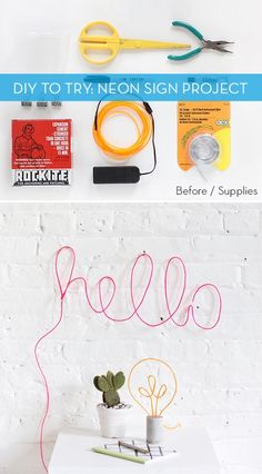 Love this neon sign inspired DIY project. Who knew it would be so easy to make? Diy Neon Sign, Neon Signs, Craft Tutorials, Diy Projects, All Craft, Grad Parties, Day, How To Make, Crafts
