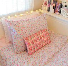 pastel floral print bedding