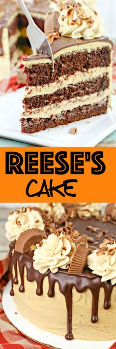 Reese's Cake: Moist chocolate cake with rich peanut peanut frosting and a silky smooth ganache. If you like Reese's you'll love this cake! via @krystlekouture