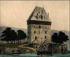 Mjøskastellet slik Peter Blix mente den kunne ha sett ut. Tegning av Blix fra 1897.
