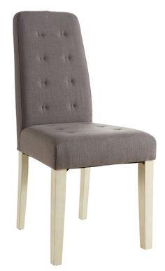 Alvis+Spisebordsstol+-+Stilfuld+spisebordsstol+betrukket+med+beige+stof+og+med+høj+stoleryg+med+flotte+knapper,+som+giver+stolen+et+elegant+look.+Stolens+ben+er+fremstillet+i+massiv+fyrretræ+med+eg-struktur,+som+giver+stolen+et+flot+finish.+Pryd+køkkenet+eller+spisestuen+med+disse+smukke+stole+og+tilfør+elegance+til+hjemmet.+