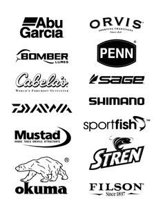 Free Logos Vector Brands Abu Garcia, ORVIS spoting traditions Since 1836, Bomber lures, PENN, Cabela`s Word`s Foremost Outfitter, SAGE, Daiwa, Shomano, Mustad hooks tools swives attractants, SportFish, Okuma, Stren, Filson since 1897 In the zip-archive set includes Brands vector file: