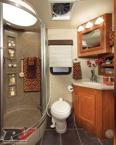 40 Amazing Small Rv Bathroom Toilet Remodel Ideas The bathroom is often consi - Wohnwagen Small Rv, Small Campers, Rv Campers, Camper Life, Rv Life, Small Space, Camper Van, Camper Bathroom, Bathroom Storage