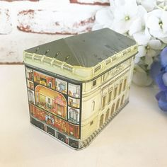 Vintage Queen Mary's Dolls House Tin Litho Box House Shaped Advertising Dollhouse Tea tin box Canister metal marshall Fields Ian Logan by WonderCabinetArts